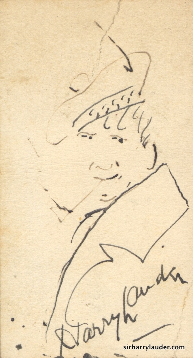 Self Drawn Caricature Ink On Victor Talking Machine Co Business Card Undated -1