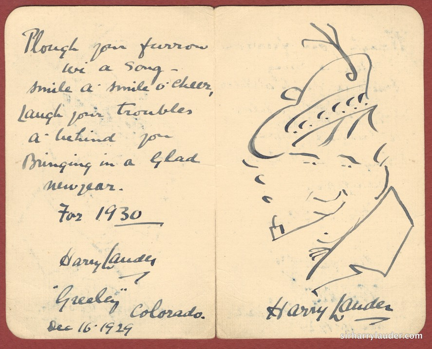 Self Drawn Caricature On Card With Verse Inscribed Greeley Colorado Dec 16 1929