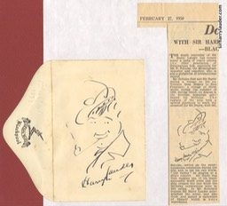 Self Drawn Small Caricature Ink On Clifton Hotel Liverpool Envelope Dated 1932 Glued Wit Newspaper Obituary 1950