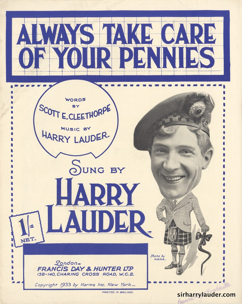 Sheet Music Always take Care Of Your Pennies Francis Day & Hunter London 1933