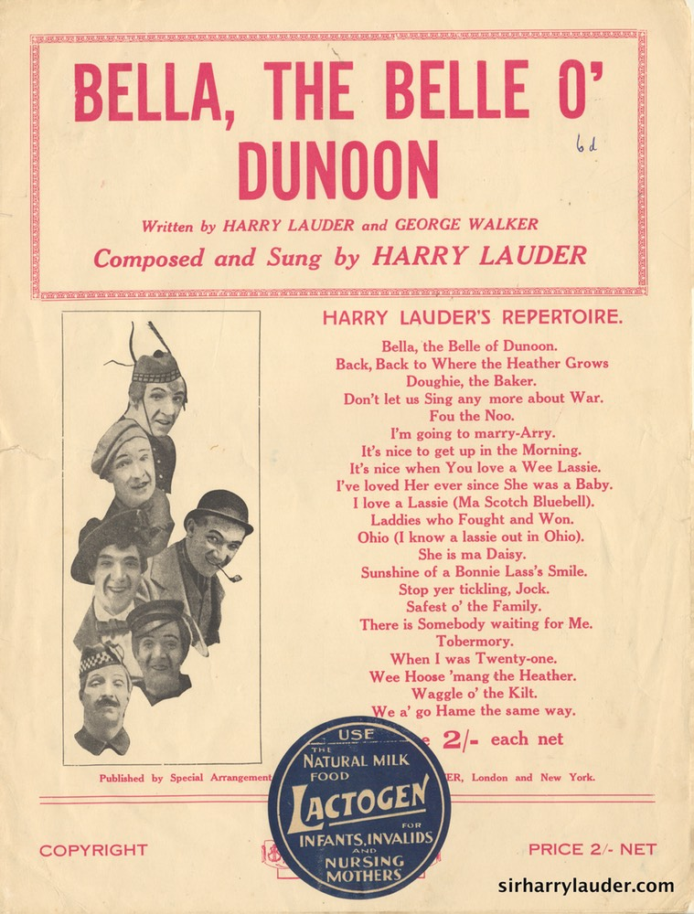 Sheet Music Bella The Belle O Dunoon Francis Day & Hunter London 1922