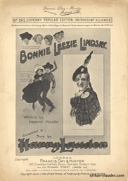 Sheet Music Bonnie Leezie Lindsay Francis Day & Hunter London 1909