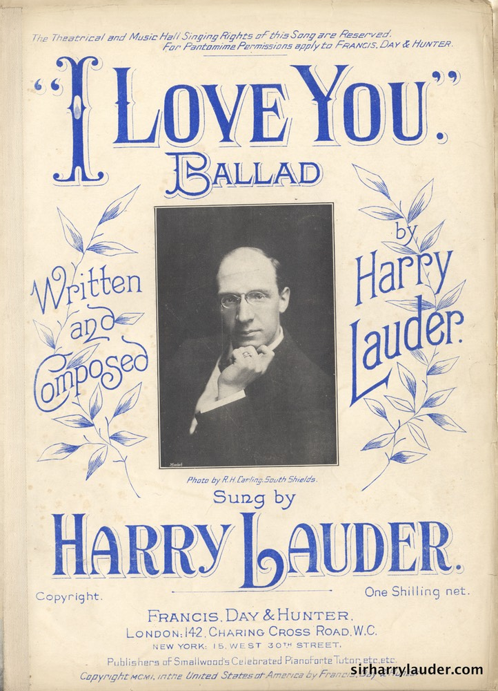 Sheet Music I Love You Francis Day & Hunter London 1901