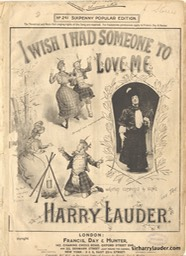Sheet Music I Wish I Had Someone To Love Me Francis Day & Hunter London 1905