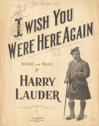Sheet Music I Wish You Were Here Again TB Harms & Francis Day & Hunter NY** 1919