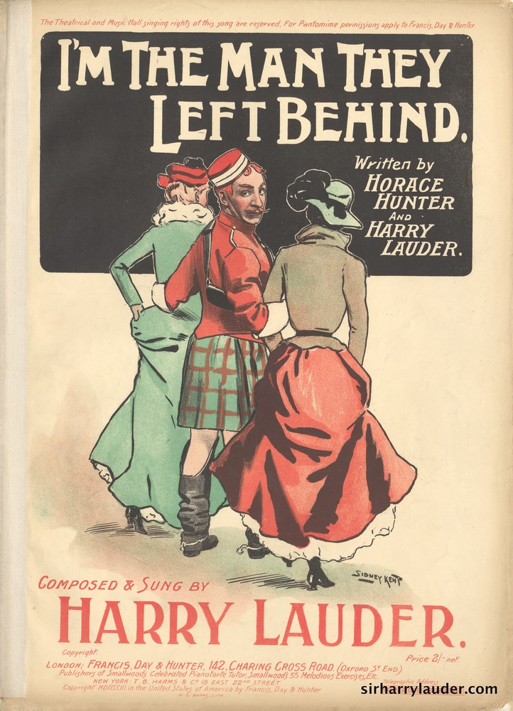 Sheet Music Im The Man They Left Behind Francis Day & Hunter London 1903