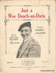 Sheet Music Just A Wee Deoch An Doris B Feldman & Co London 1911