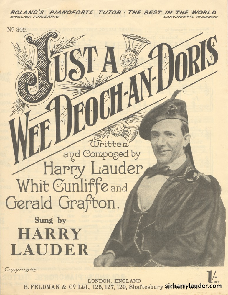 Sheet Music Just A Wee Deoch An Doris B Feldman & Company London 1911
