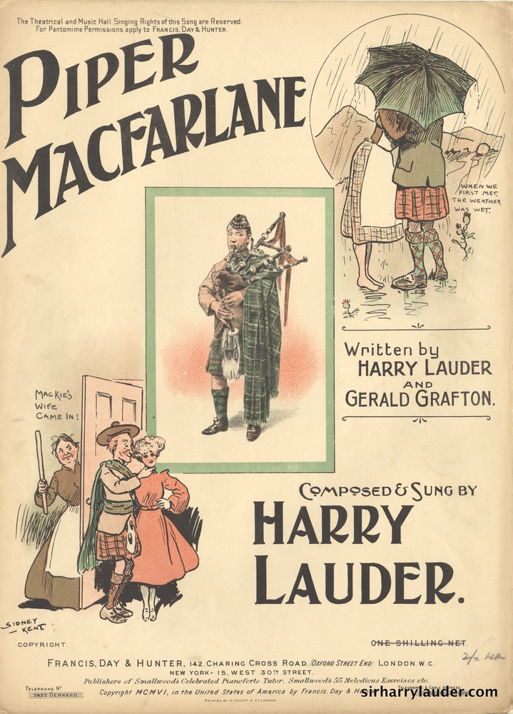 Sheet Music Piper Macfarlane Francis Day & Hunter London 1906