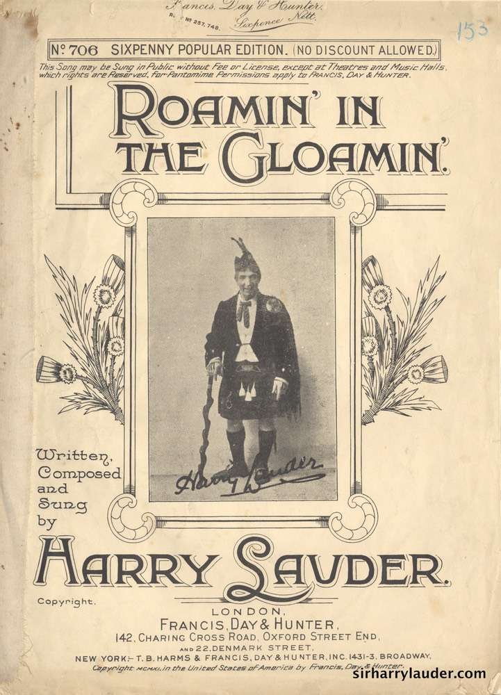 Sheet Music Roamin In The Glomin Francis Day & Hunter London 1911