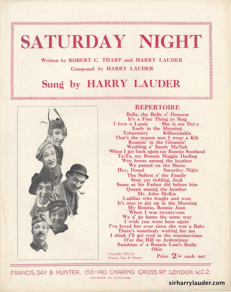 Sheet Music Saturday Night Francis Day & Hunter London 1922