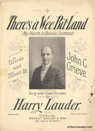 Sheet Music Theres A Wee Bit Land Ernest Kohler & Son Edinburgh Undated