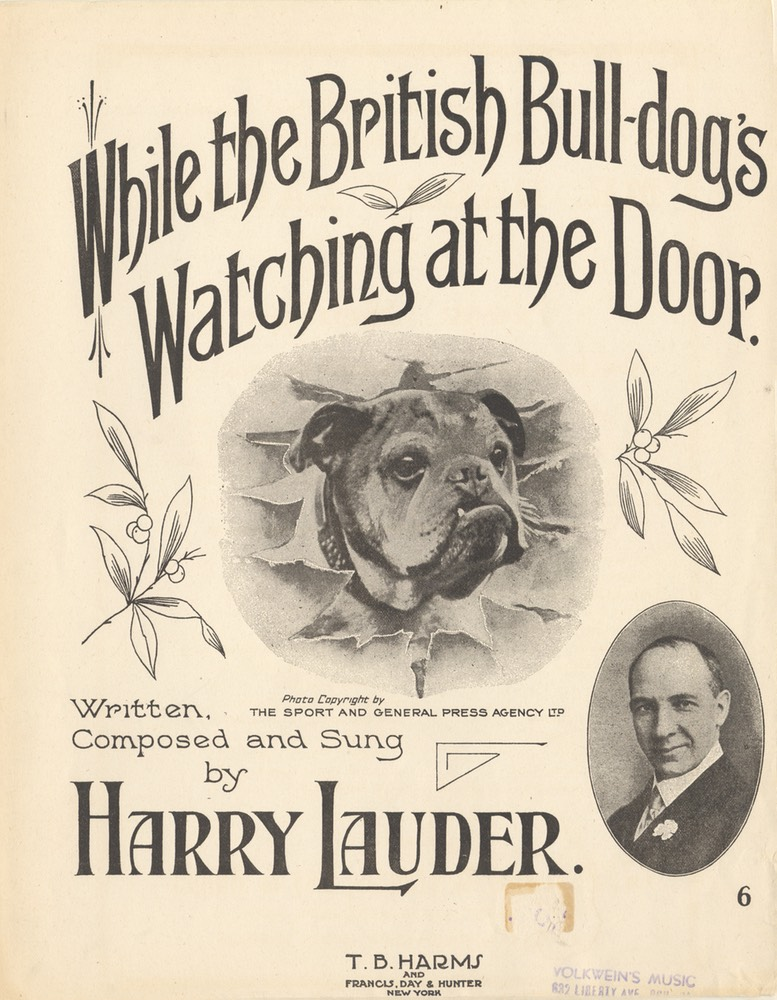 Sheet Music While The British Bulldogs Watching At The Door TB Harms & Francis Day & Hunter NY 1915