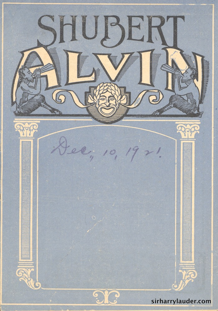 Shubert Alvin Pittsburgh Programme Booklet Dec 10 1921 -1