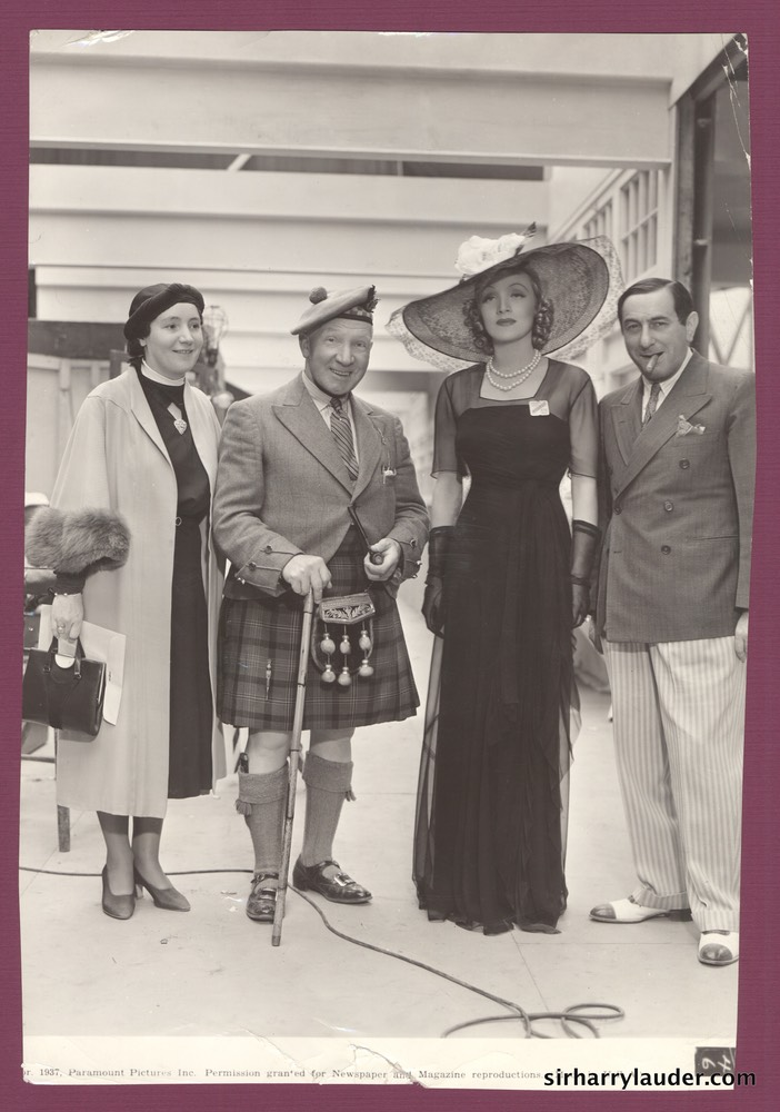 Sir Harry & Greta Lauder with Marlene Dietrich & Ernst Lubitsch 1937