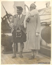 Sir Harry & Lady Lauder Acquitania -3 Oct 1926