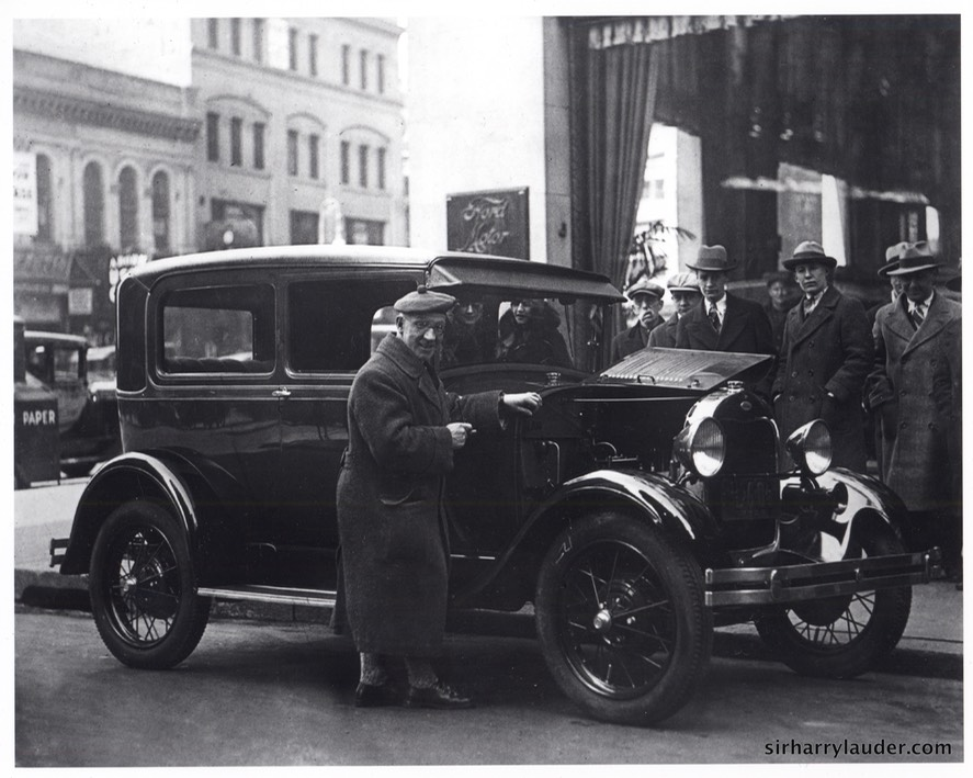 Sir Harry With Ford Car Undated