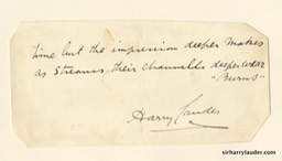 Small Paper Glued To Card Inscribed With Quote Fron Burns & Signed Undated