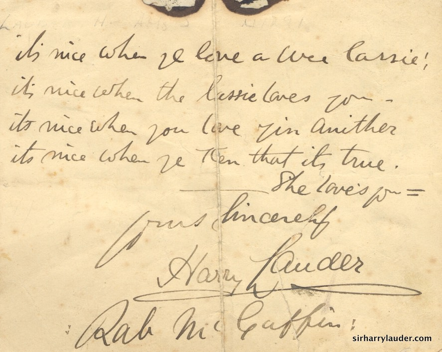Small Paper Inscribed With Verse Form Nice When You Love A Wee Lassie Signed Undated