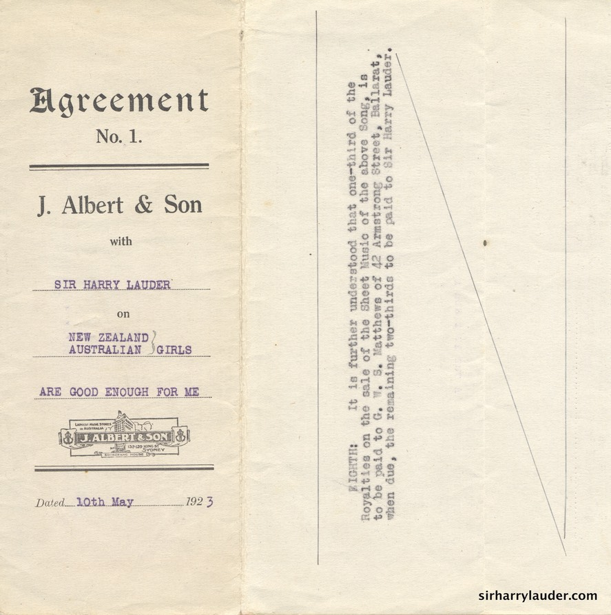 Song Publishing Agreement Signed & Initialed By Sir Harry 10 May 1923 -1
