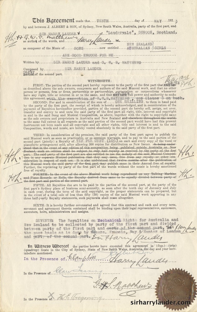 Song Publishing Agreement Signed & Initialed By Sir Harry 10 May 1923 -2