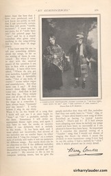 Strand Magazine My Reminiscenes By Harry Lauder April 1909 -10