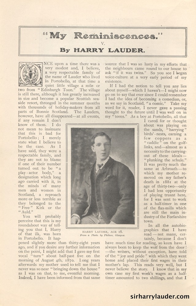 Strand Magazine My Reminiscenes By Harry Lauder April 1909 -1