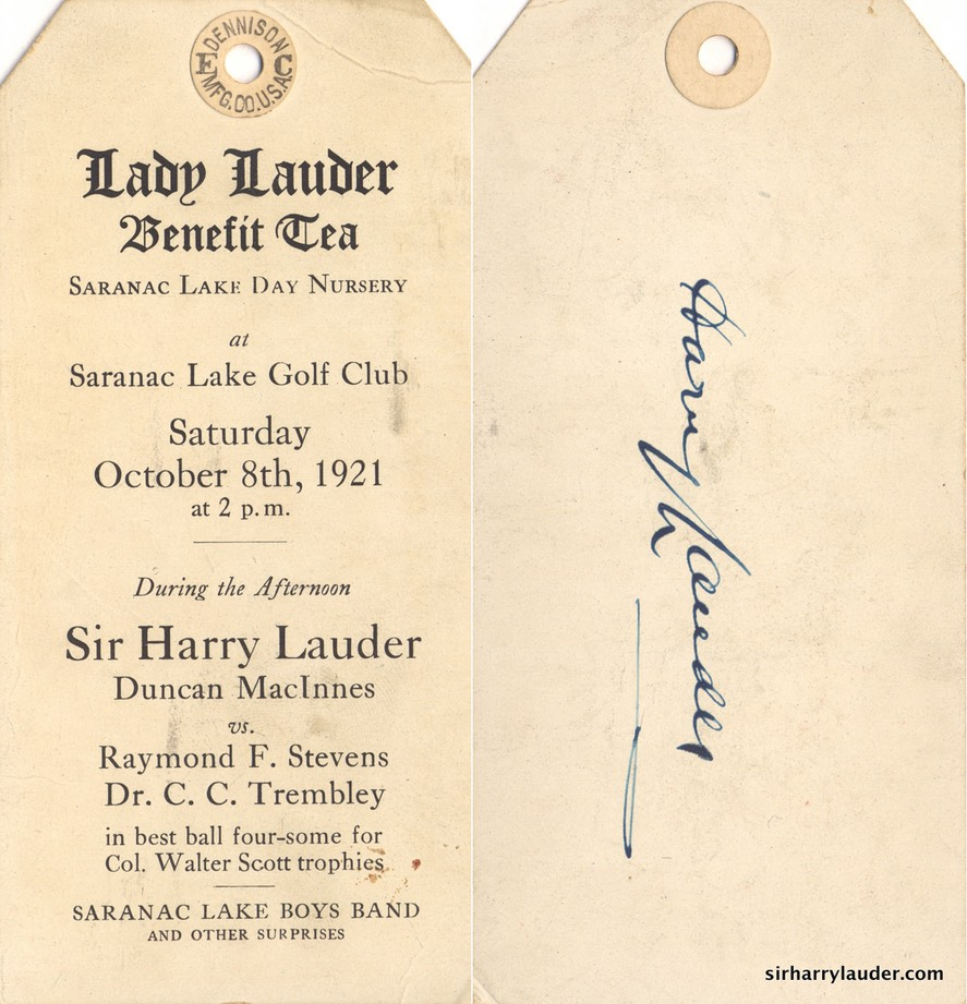 Tag For Lady Lauder Tea Saranac Lake NY Verso Signed By Sir Harry Oct 8 1921**