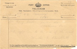 Telegram Message in Pencil Birthday Greetings From Winston Churchill 4 Aug 1944