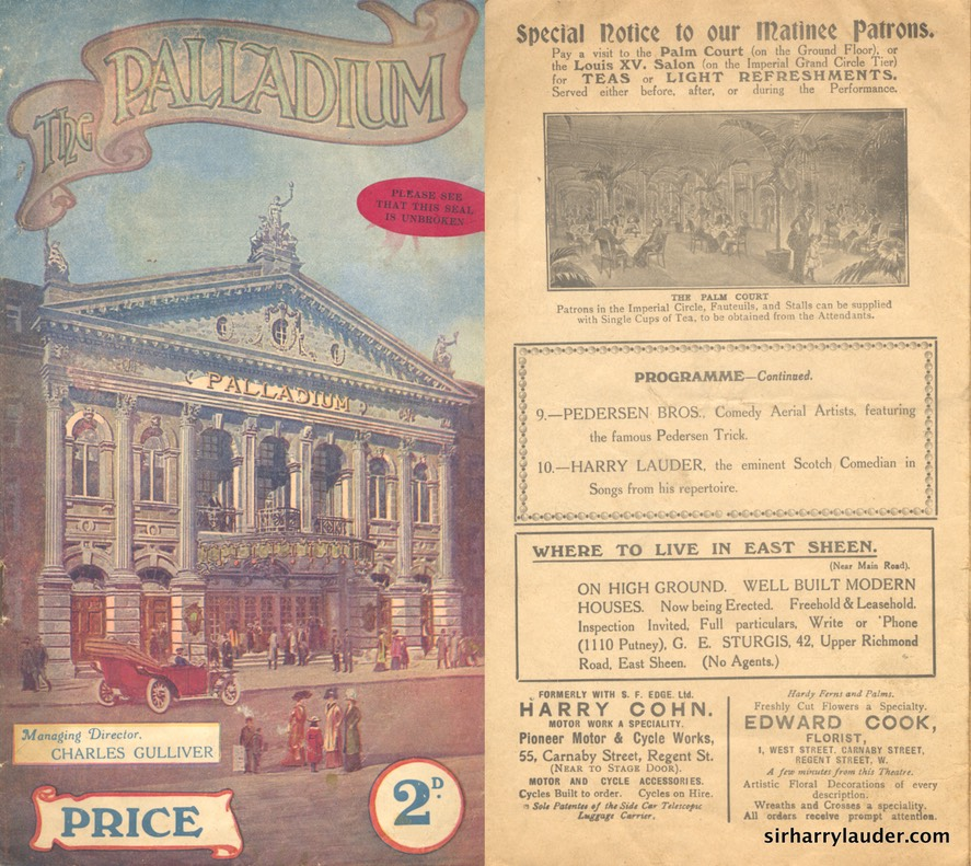 The Palladium Programme London August 4 1913
