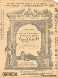 Theatre Royal Glasgow Aladdin Programme Bi-fold Jan 1 1906 -1