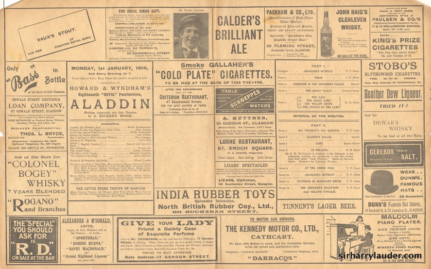 Theatre Royal Glasgow Aladdin Programme Bi-fold Jan 1 1906 -2