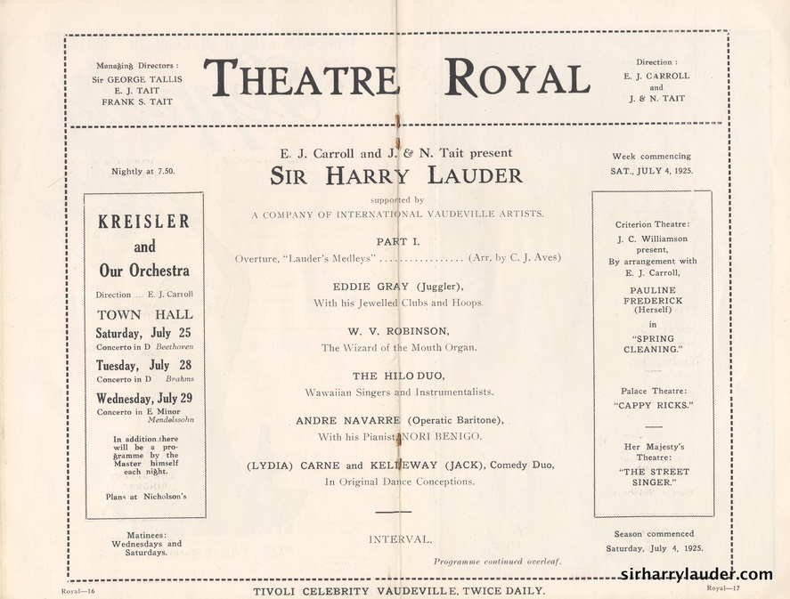 Theatre Royal Sydney Programme Booklet July 4 1925 -5