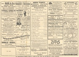 Tivoli London Programme Tri-Fold May 31 1909 Reverse