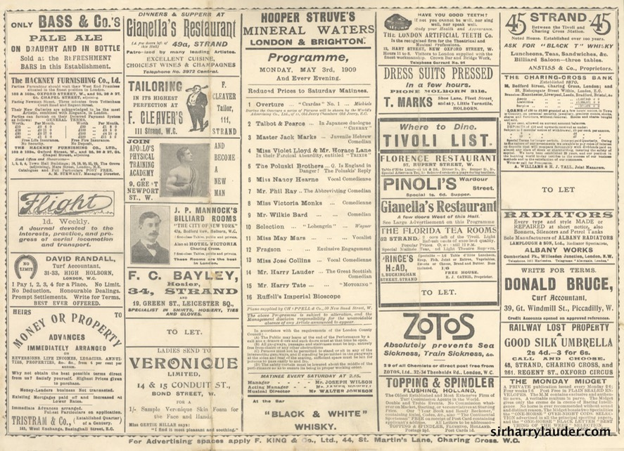 Tivoli London Programme Tri-Fold May 3 1909 Reverse