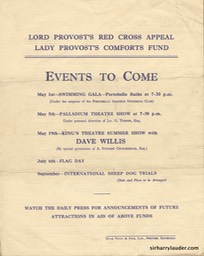 Usher Hall Edinburgh Lord Provost's Red Cross Appeal Programme Bi Fold Apr 26 1940 Back