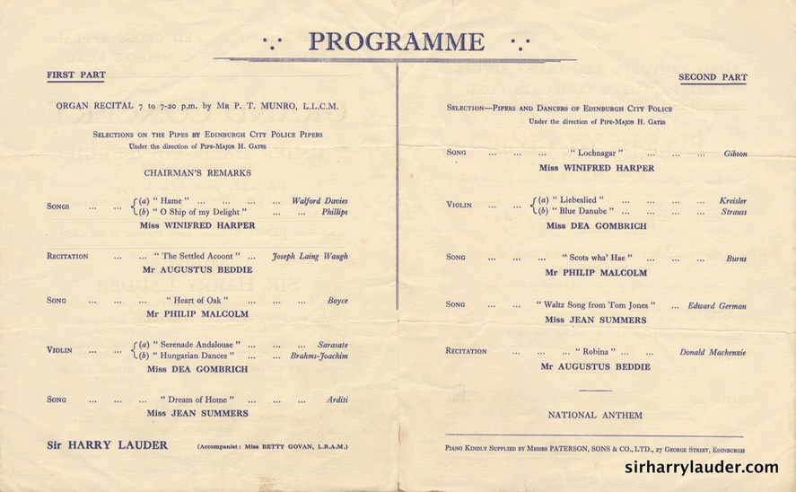 Usher Hall Edinburgh Lord Provost's Red Cross Appeal Programme Bi Fold Apr 26 1940 Center