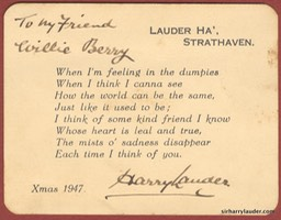 Xmas 1947 Card To Willie Berry Signed