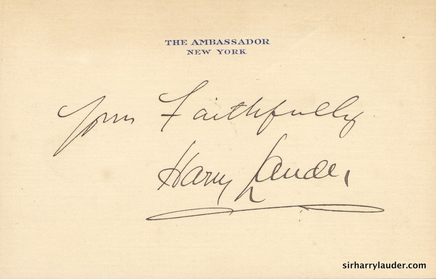 Yours Faithfully On Ambassador New York Hotel Card Undated